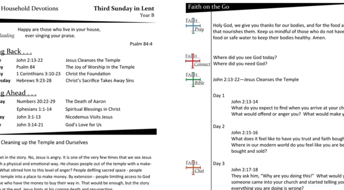 Weekly Devotion Page for the 3rd Sunday in Lent – Year B