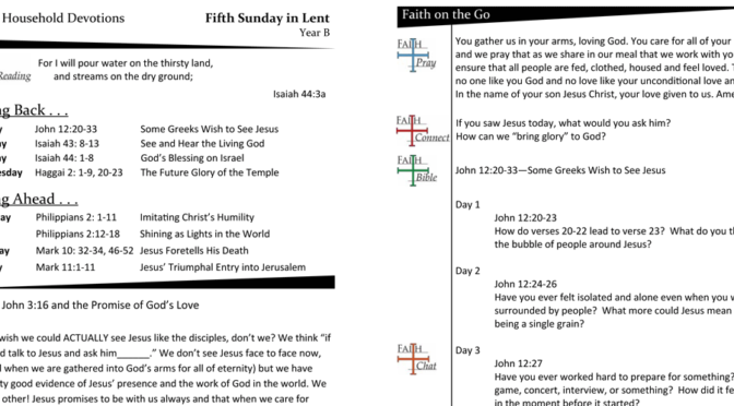 Weekly Devotion Page for the Fifth Sunday in Lent – Year B