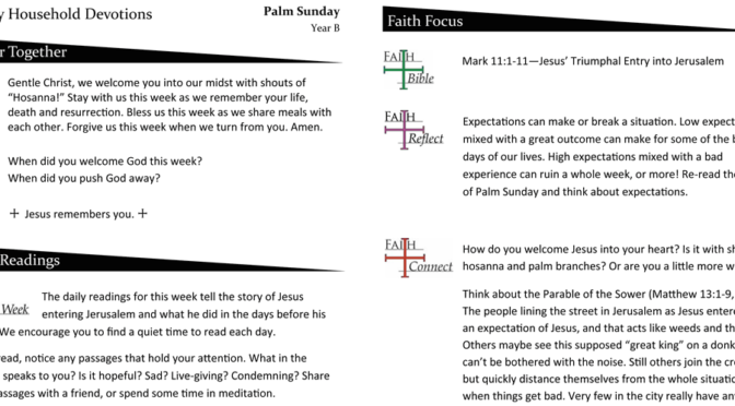 Weekly Devotion Page for Palm Sunday – Year B