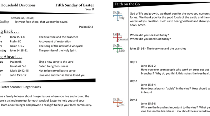 Weekly Devotion Page – 5th Sunday of Easter, Year B