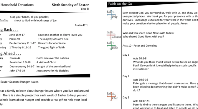 Weekly Devotion Page for the Sixth Sunday of Easter – Year B
