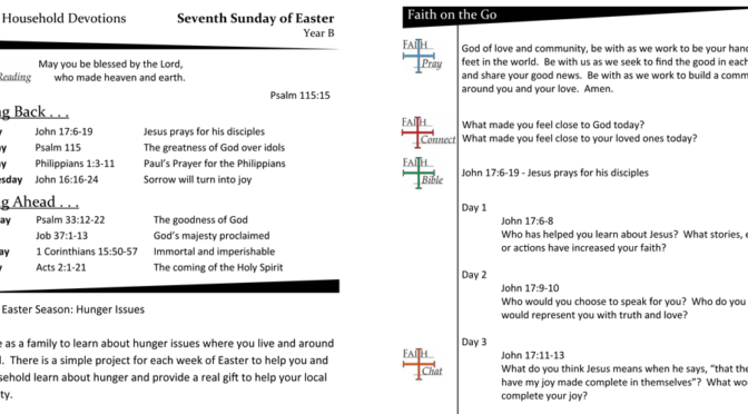 Weekly Devotion Page for the Seventh Sunday of Easter – Year B