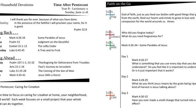 Weekly Devotion Page For Lectionary 11 – Year B (June 12-18)