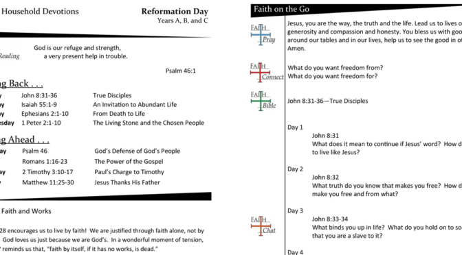 Weekly Devotion Page for Reformation Sunday – Years A, B, and C