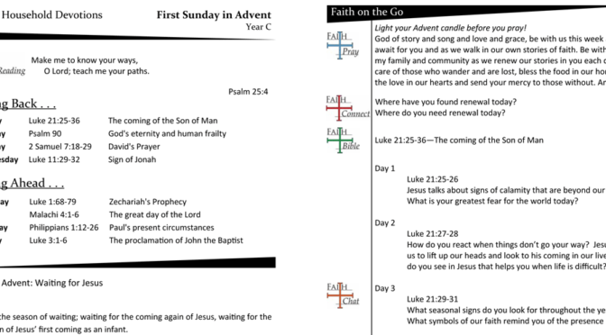 WEEKLY DEVOTION PAGE FOR THE FIRST SUNDAY IN ADVENT – YEAR C