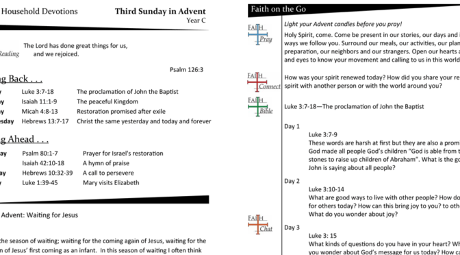 WEEKLY DEVOTION PAGE FOR THE THIRD SUNDAY IN ADVENT – YEAR C