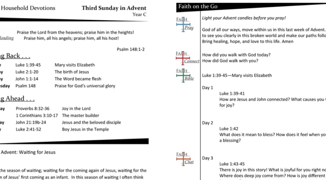 WEEKLY DEVOTION PAGE FOR THE Fourth SUNDAY IN ADVENT – YEAR C