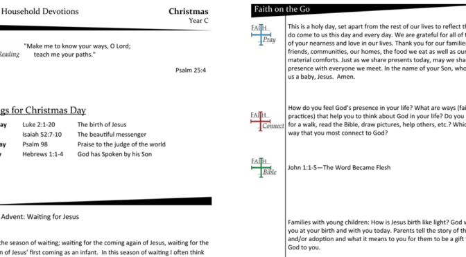WEEKLY DEVOTION PAGE FOR Christmas – YEAR C