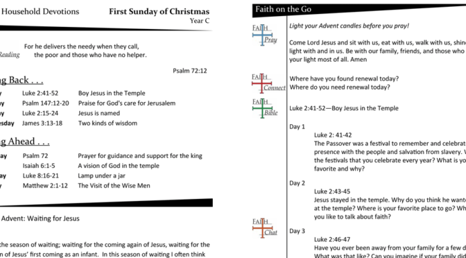 WEEKLY DEVOTION PAGE FOR THE First SUNDAY Of Christmas – YEAR C