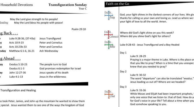 WEEKLY DEVOTION PAGE for Transfiguration Sunday, YEAR C (Last Sunday after Epiphany)