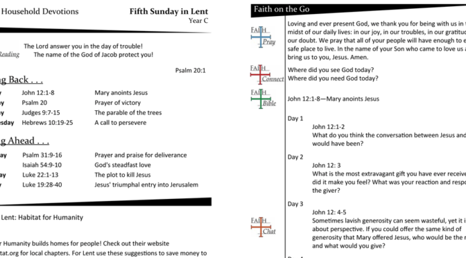 WEEKLY DEVOTION PAGE FOR THE Fifth SUNDAY IN LENT, YEAR C