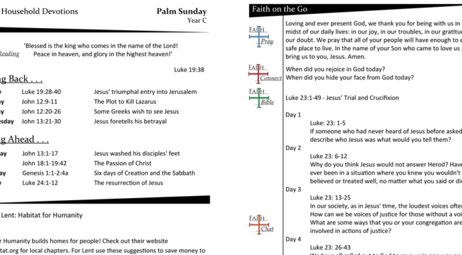 WEEKLY DEVOTION PAGE FOR Palm Sunday, YEAR C