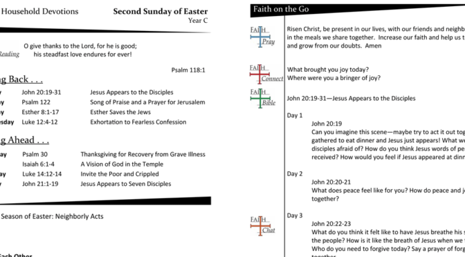 WEEKLY DEVOTION PAGE FOR the Second Sunday of EASTER, YEAR C
