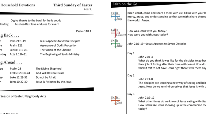 WEEKLY DEVOTION PAGE FOR THE Third SUNDAY OF EASTER, YEAR C