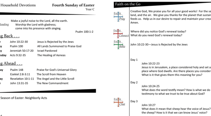 WEEKLY DEVOTION PAGE FOR THE Fourth SUNDAY OF EASTER, YEAR C