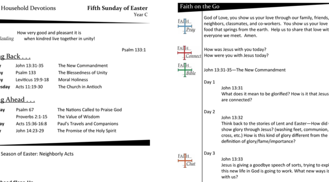 WEEKLY DEVOTION PAGE FOR THE FIFTH SUNDAY OF EASTER, YEAR C