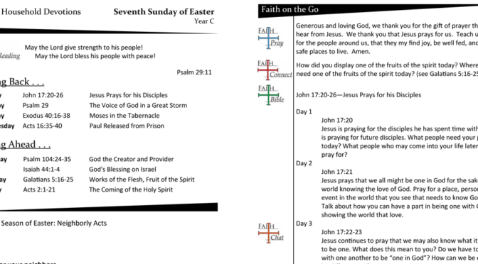 WEEKLY DEVOTION PAGE FOR THE Seventh SUNDAY OF EASTER, YEAR C