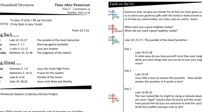 TIME AFTER PENTECOST – LECTIONARY 15, YEAR C