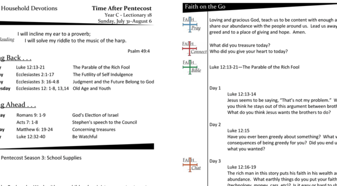 TIME AFTER PENTECOST – LECTIONARY 18, YEAR C