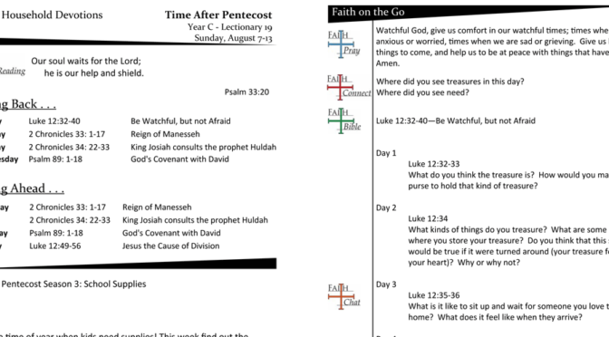 TIME AFTER PENTECOST – LECTIONARY 19, YEAR C