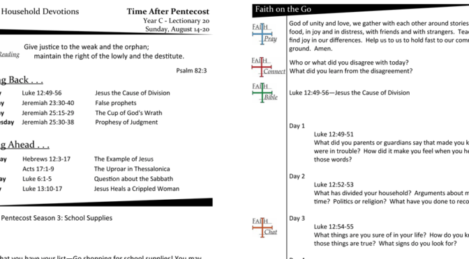 TIME AFTER PENTECOST – LECTIONARY 20, YEAR C