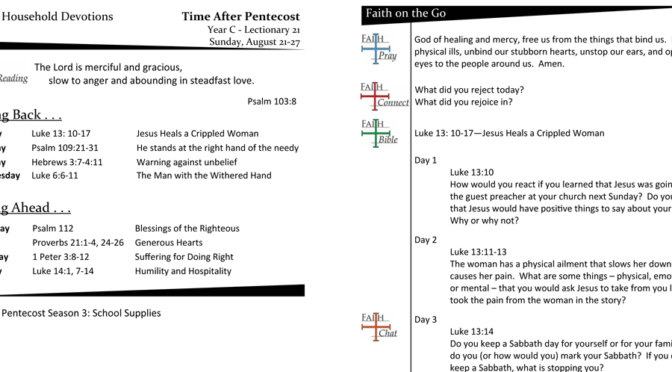 TIME AFTER PENTECOST – LECTIONARY 21, YEAR C