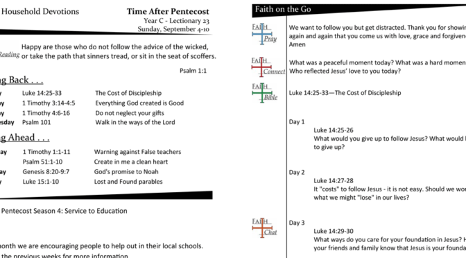 TIME AFTER PENTECOST – LECTIONARY 23, YEAR C