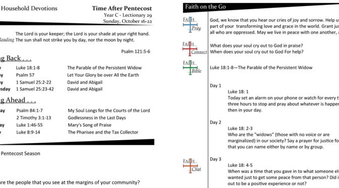 TIME AFTER PENTECOST – LECTIONARY 29, YEAR C
