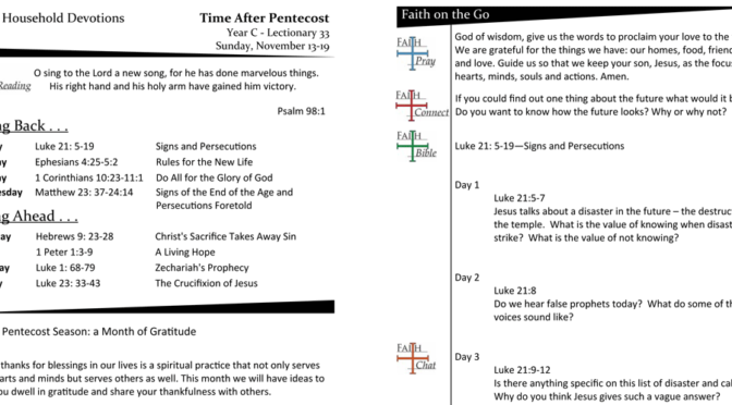 TIME AFTER PENTECOST – LECTIONARY 33, YEAR C
