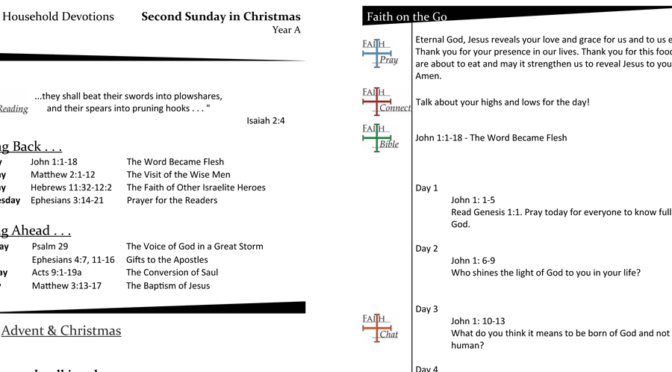 Weekly Devotion Page for the Second Sunday of Christmas – Year A